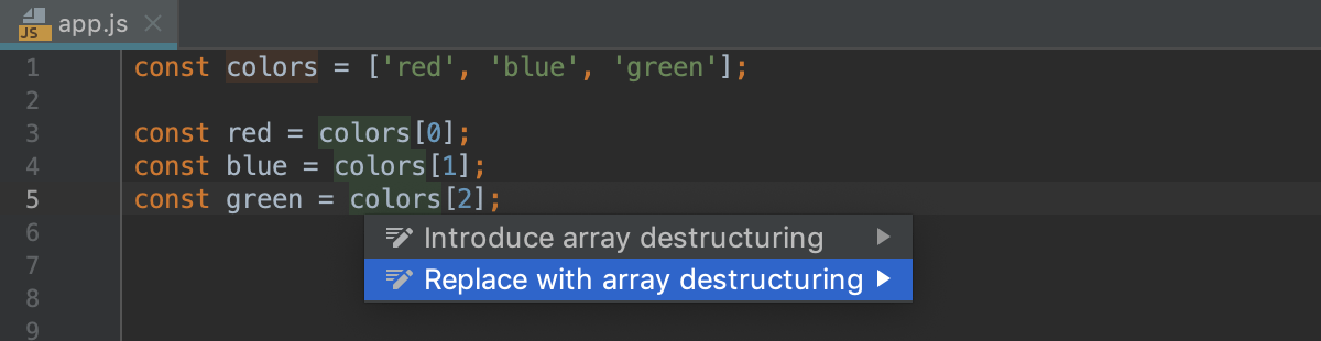 Destructuring with intention action: Replace with array destructuring