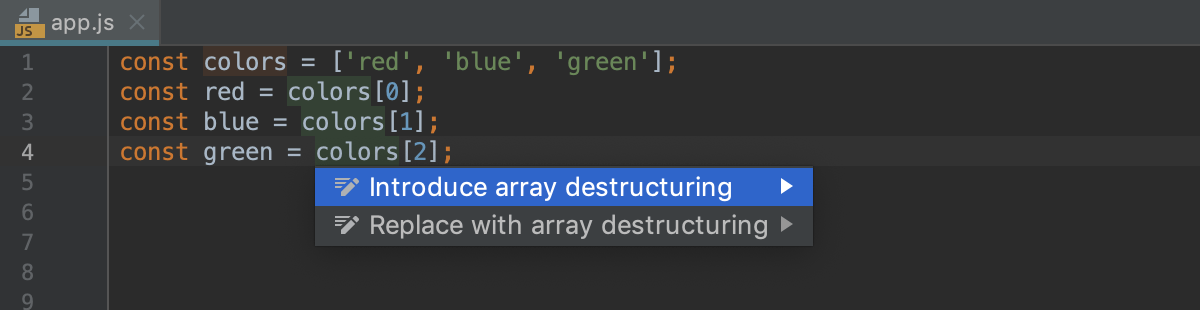 Destructuring with intention action: Introduce array destructuring