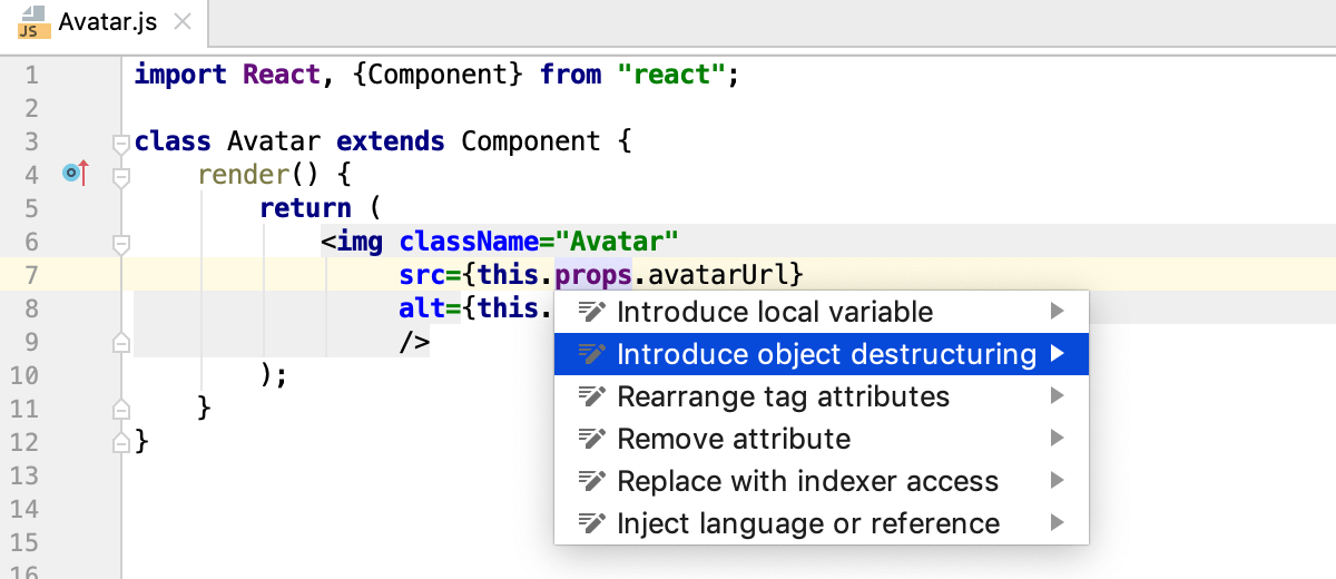 Destructuring with intention action: Introduce object destructuring in a React class