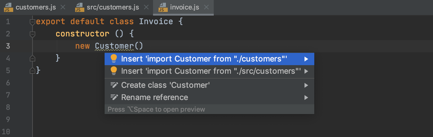 Autoimport with quick-fix: multiple choices
