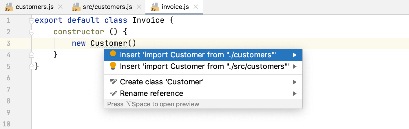 Auto import with quick-fix: multiple choices
