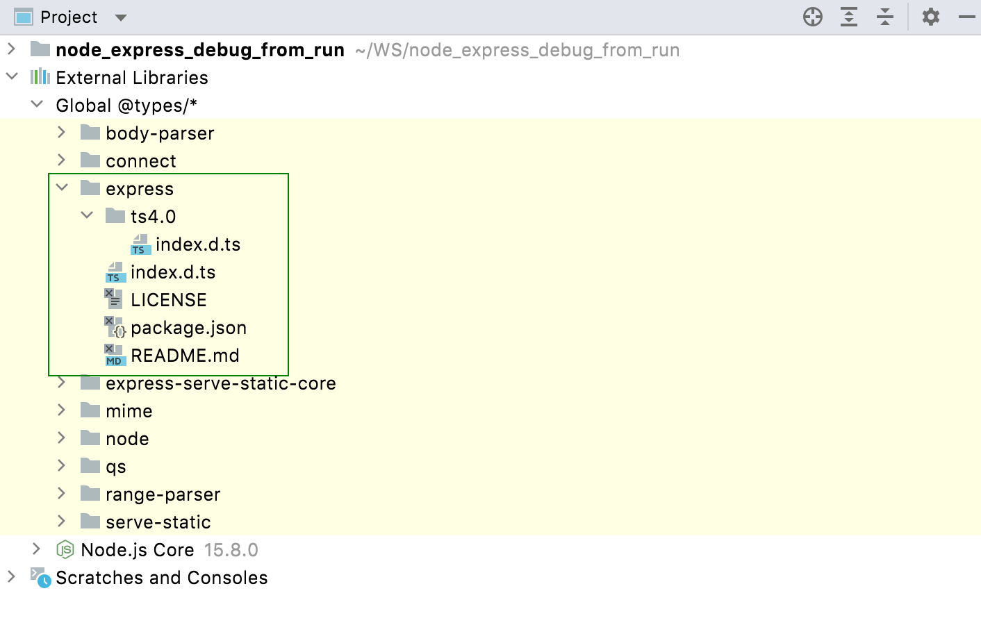 Downloaded type definitions are shown under the External libraries node