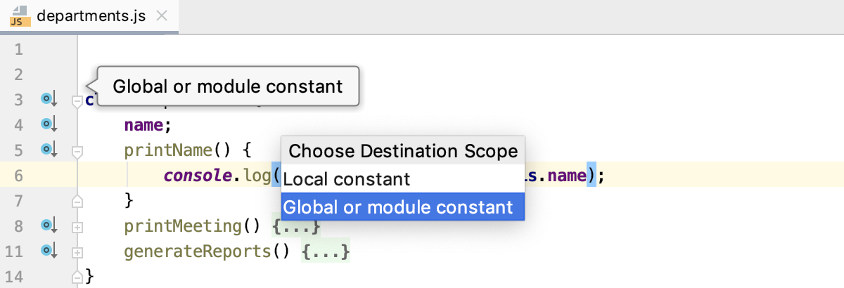 Introduce Constant: select scope