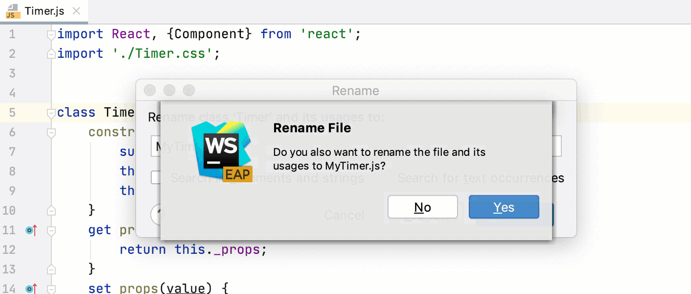 Rename refactoring for classes: renaming the file accordingly