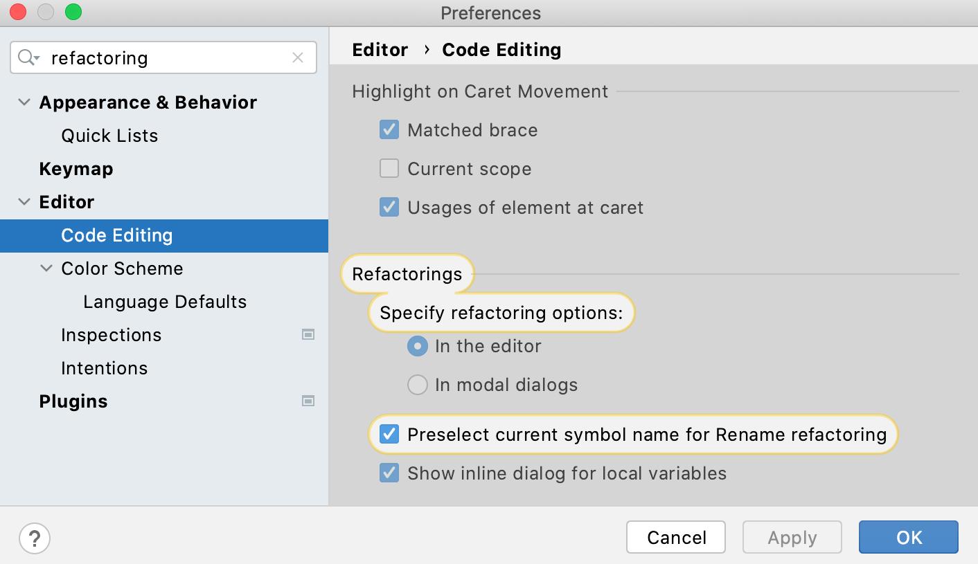 Refactoring settings: open settings in modal dialogs
