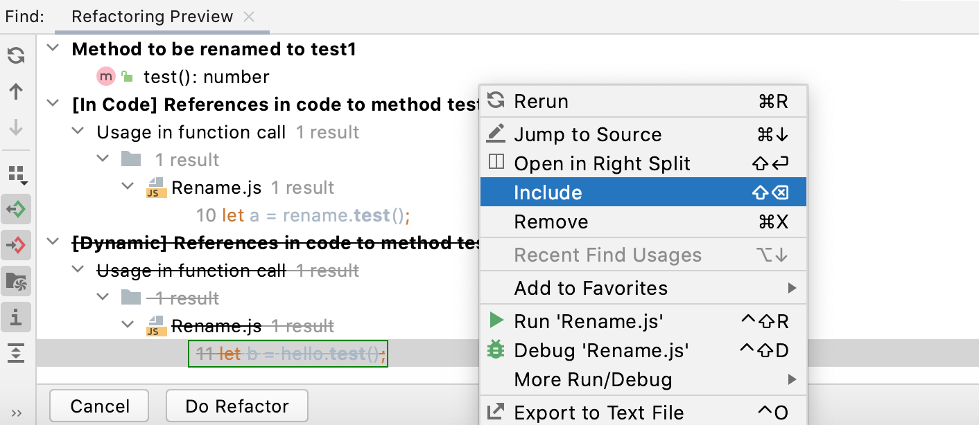 Refactoring preview for                  dynamic usages