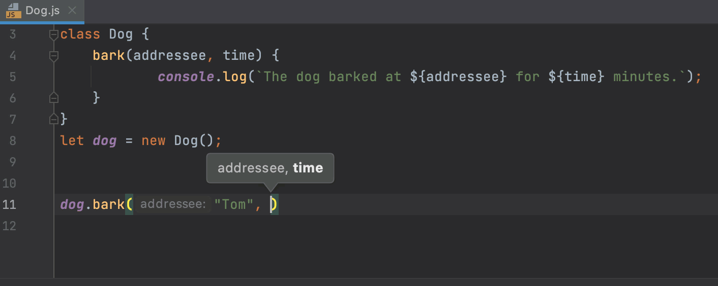 Showing parameter hints on completion