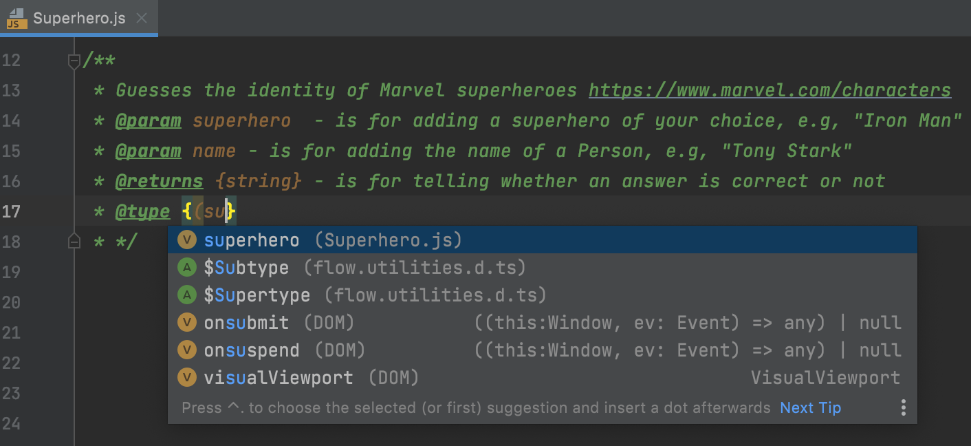 Code completion for TypeScript annotations within JSDoc in a JavaScript file