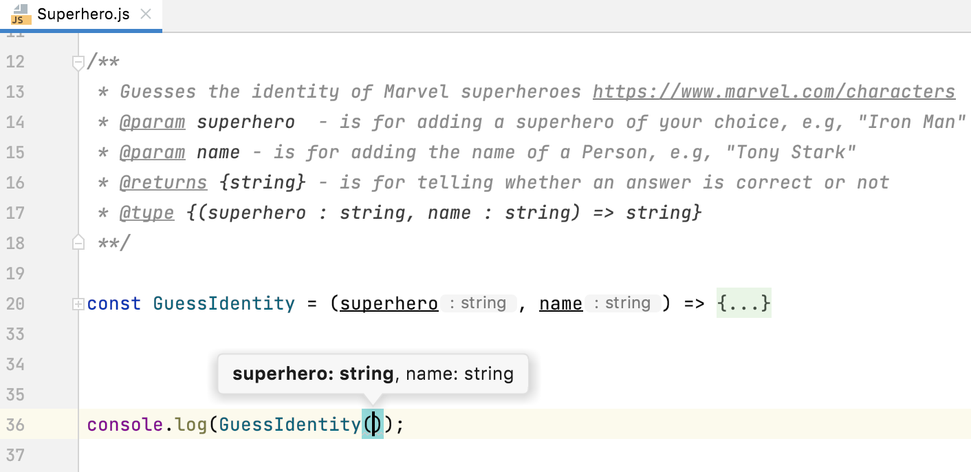 Parameter hints are shown based on type annotations within JSDoc in a JavaScript file