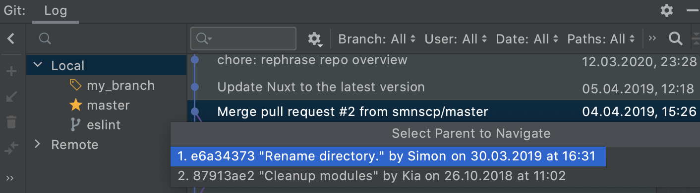 jump to next commit