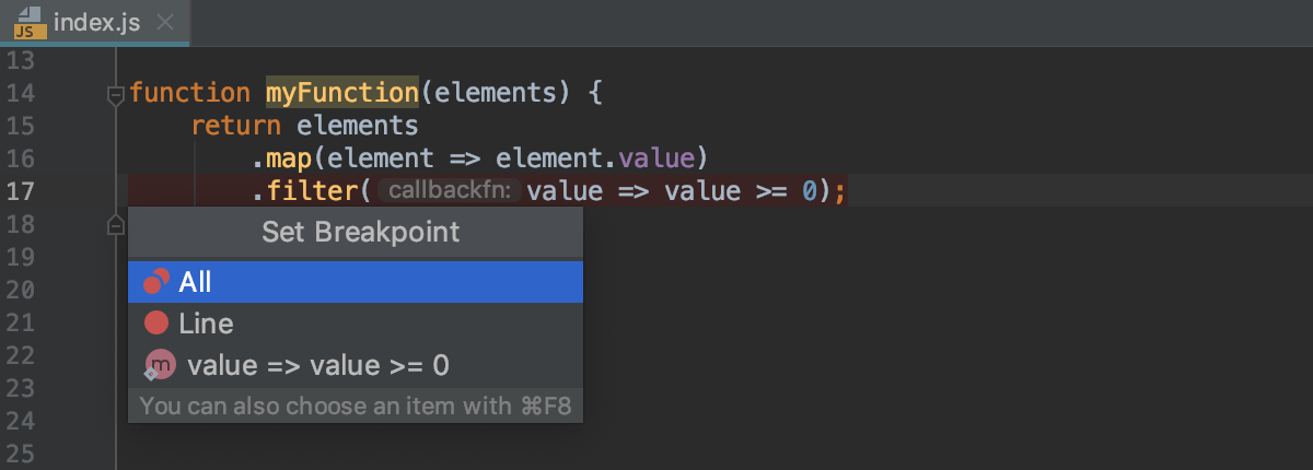 Multiple breakpoints in a line for an arrow function