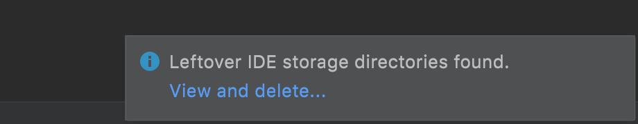 Leftover IDE directories popup