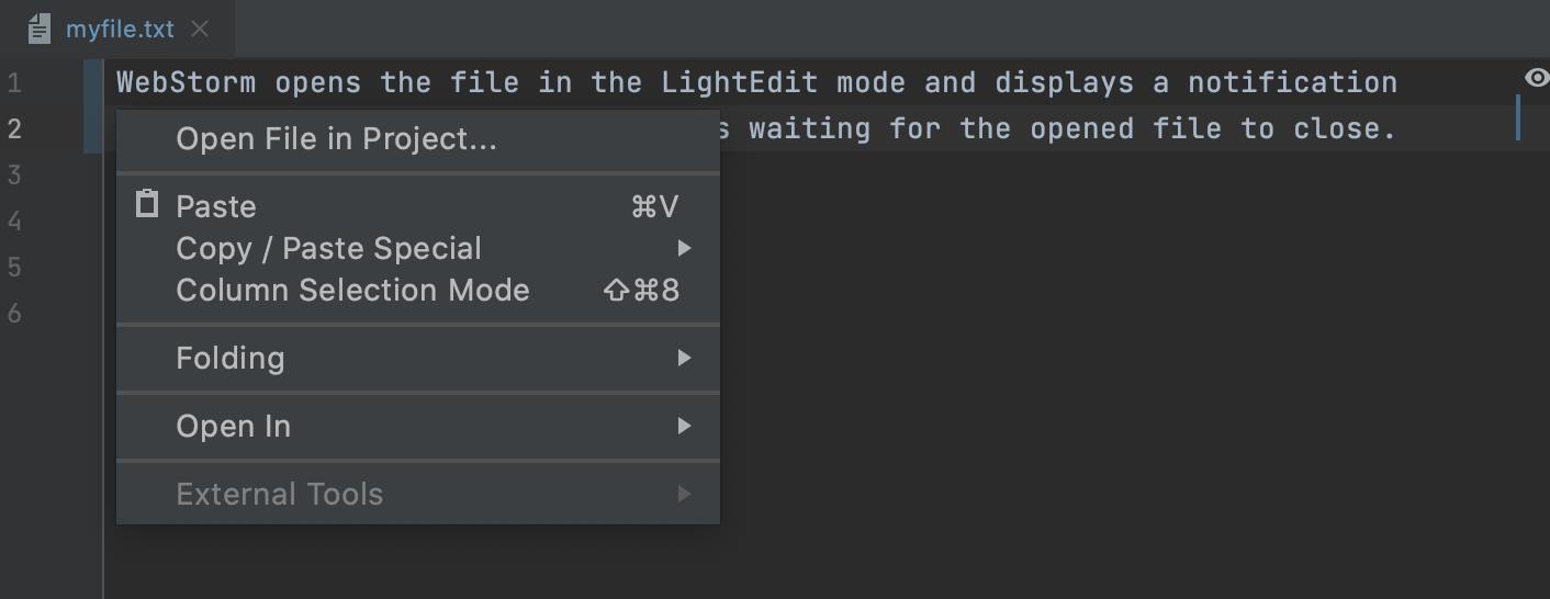 LightEditor: the context menu