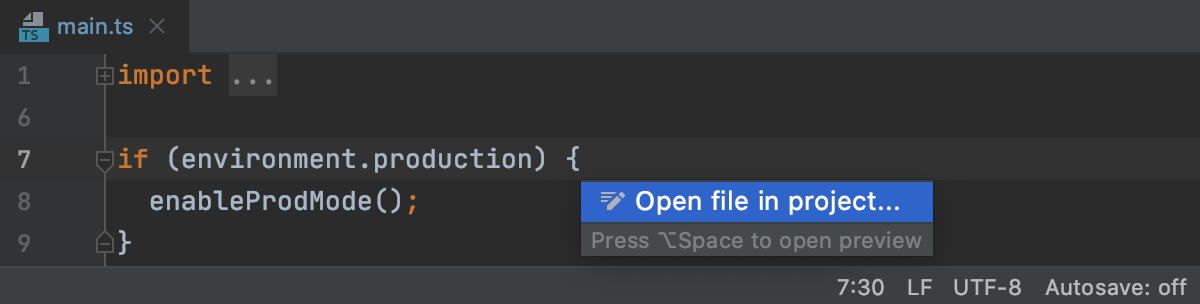 Switch from LightEdit to editing the entire project (context action)