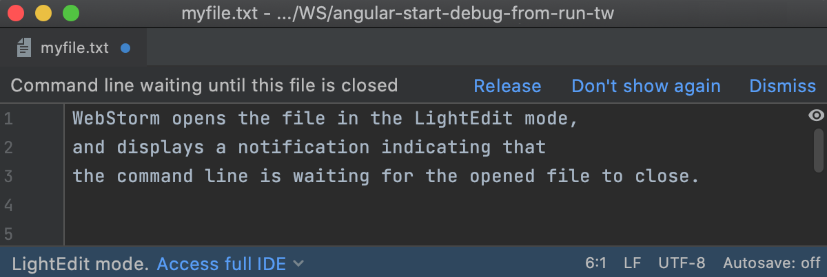 the Command line waiting notification