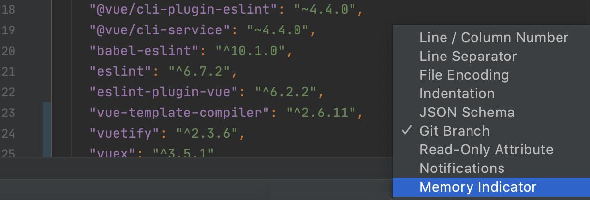 enable memory indicator on the Status bar