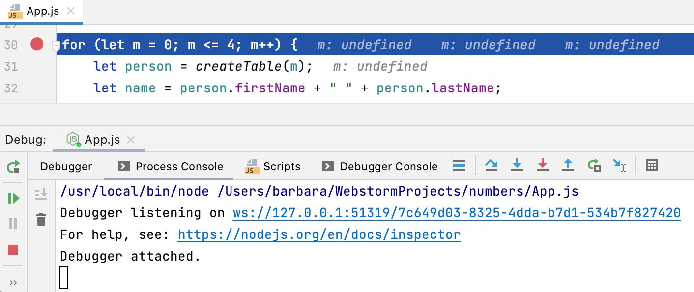 Node.js debugging session: Process Console