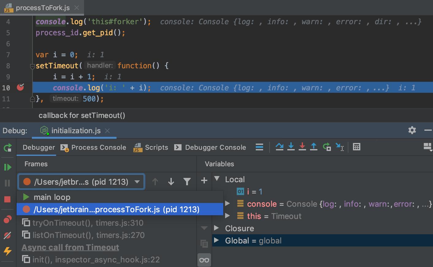 Node.js application: Multi-process debugging