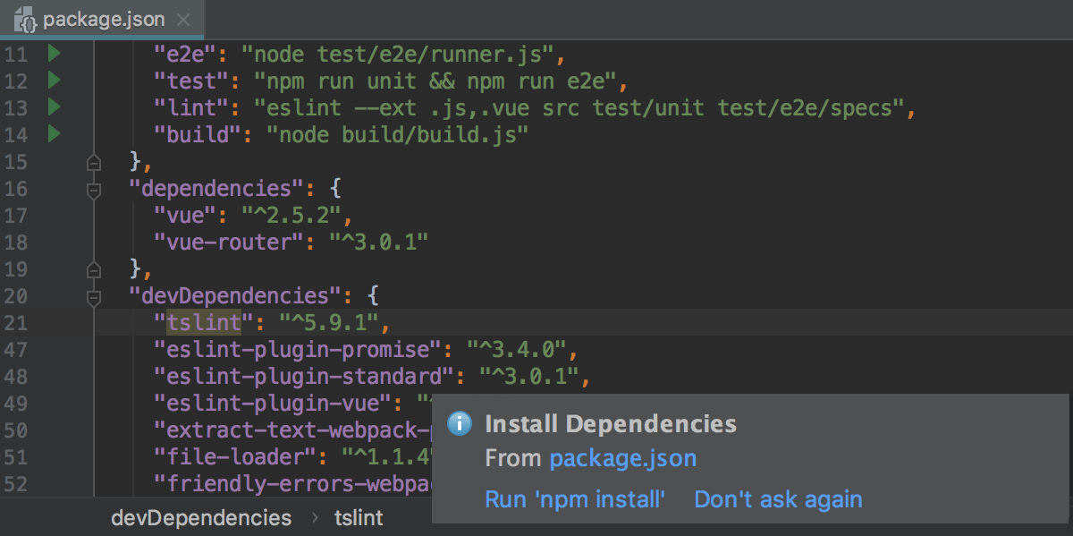 Opening an Angular application and downloading the dependencies from package.json
