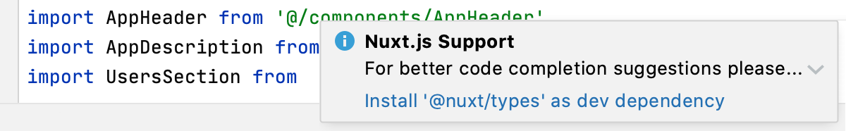 Notification about missing @nuxt/types