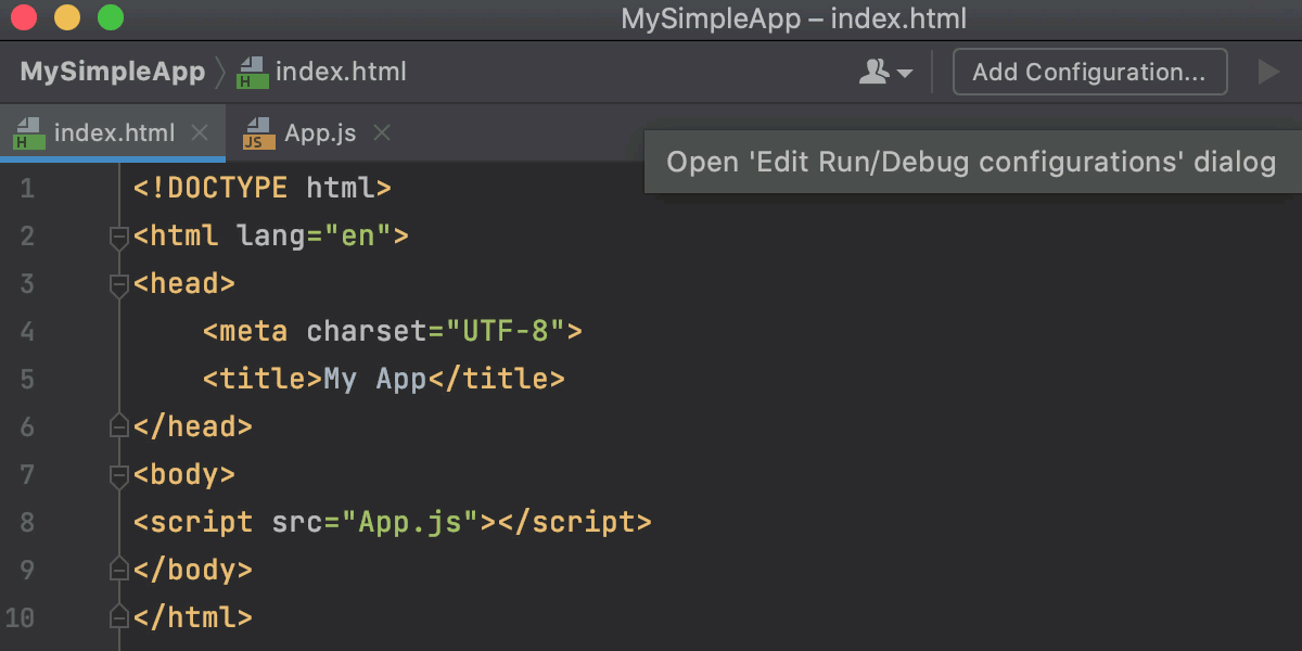 Debug JavaScript on an external web server: open Edit configurations dialog