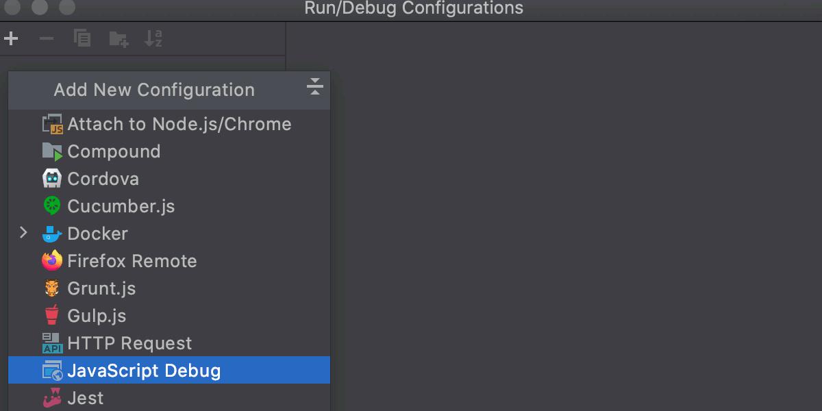 Create JavaScript Debug configuration