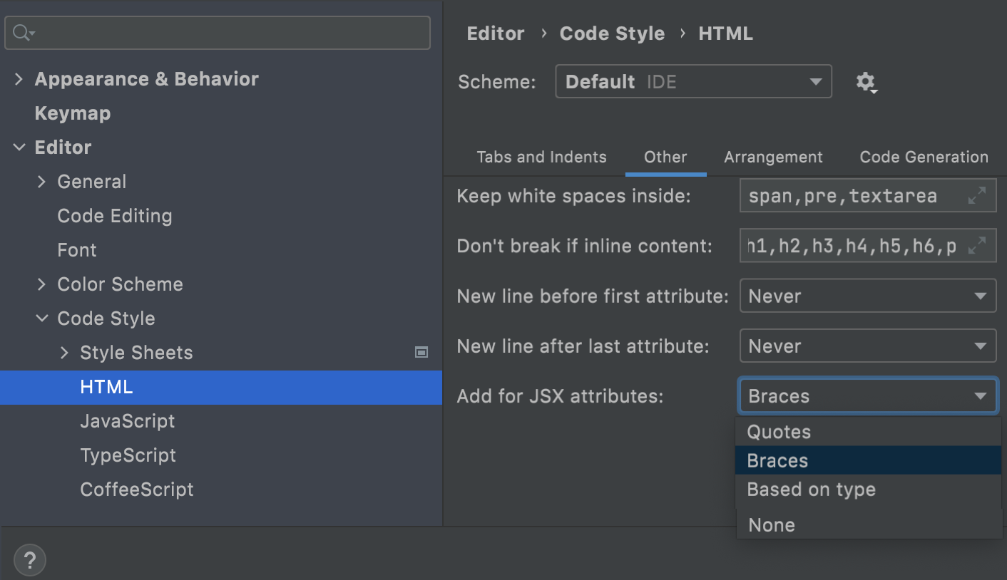 Add for JSX attributes