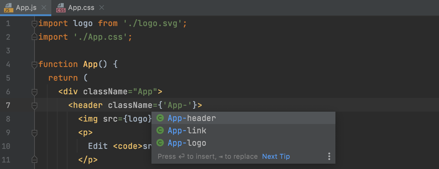 Completion for CSS class names