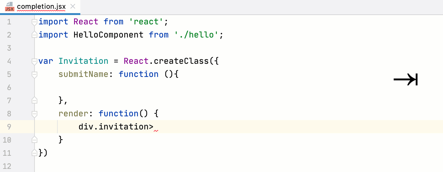 Expand Emmet template in React