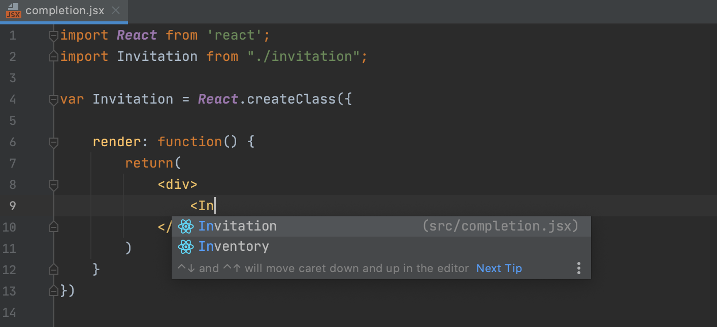 Completion for imported components with ES6 syntax