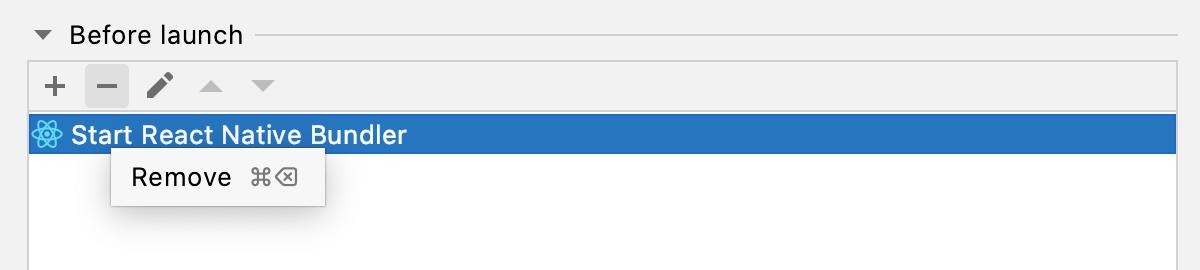 React Native Debug configuration for debugging with Expo: Remove default Start bundler task