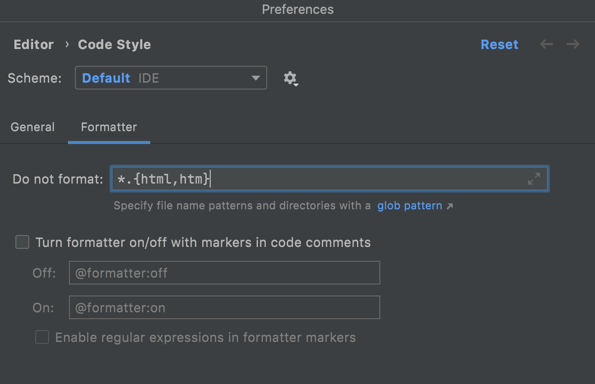 Specifying a glob pattern for excluding files from reformatting