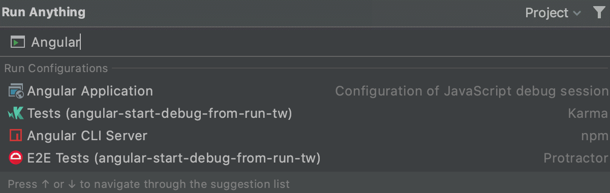 Start run/debug configurations from the Run Anything popup