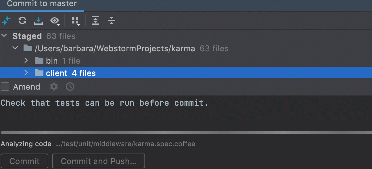 Non-modal commit dialog running a test
