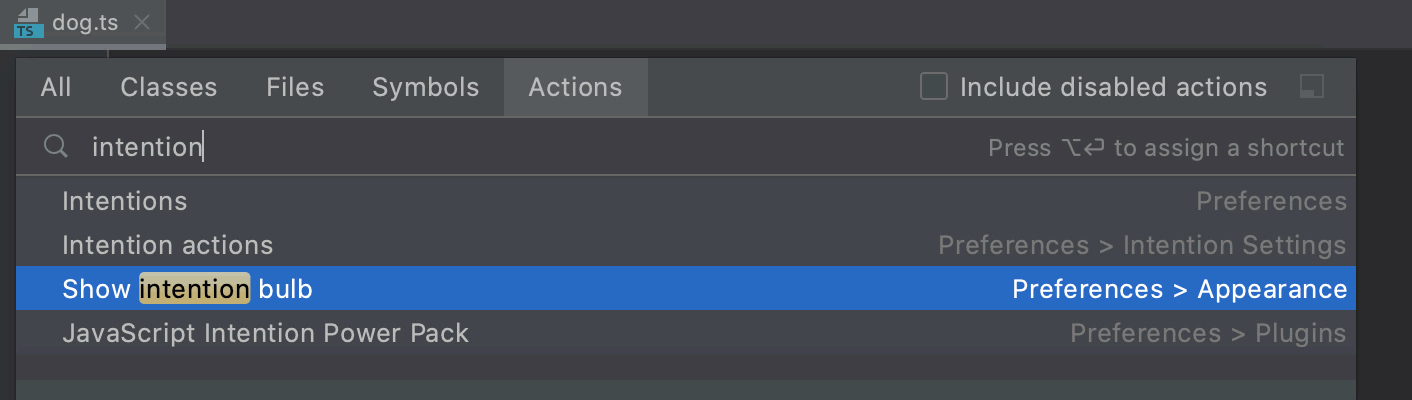 Searching for actions and opening Settings/Preferences
