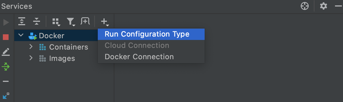 Services tool window: Add run configuration