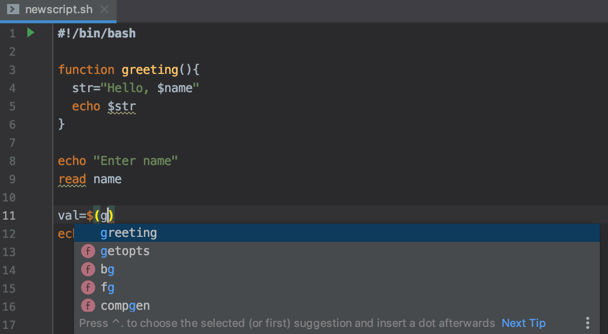 Code assistance in shell scripts