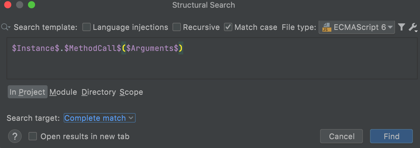 Search template for method calls