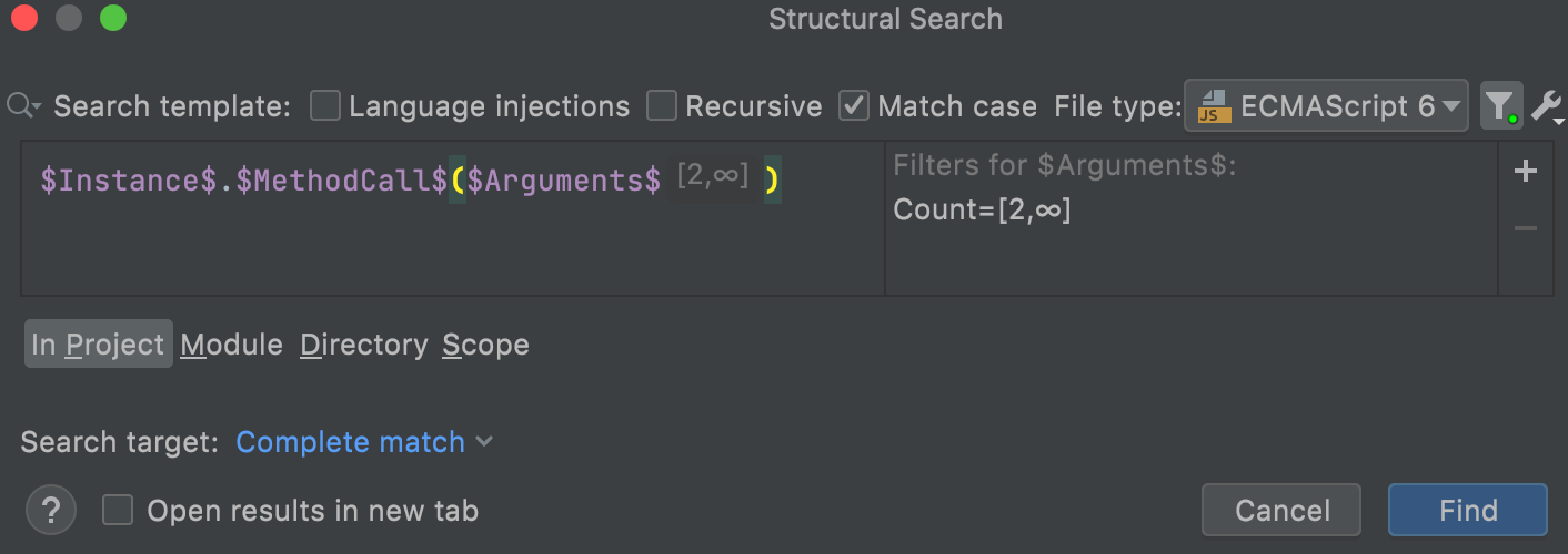 Search template for method call with a count filter