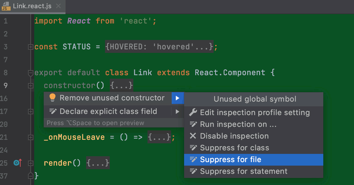 Suppress an inspection in a JavaScript class