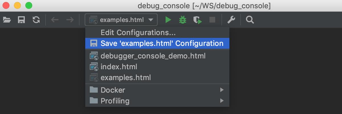 Run/Debug configuration selector: Save configuration