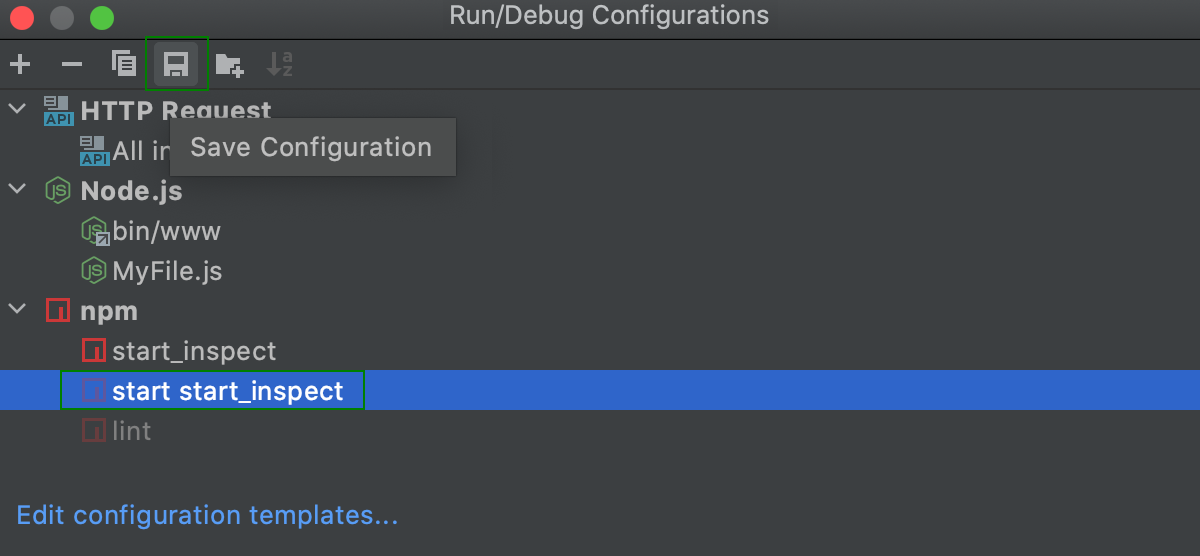 Save temporary run configuration in the Edit Configurations dialog