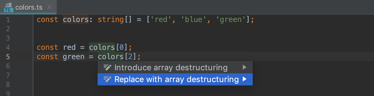 Destructuring with intention action: items skipped