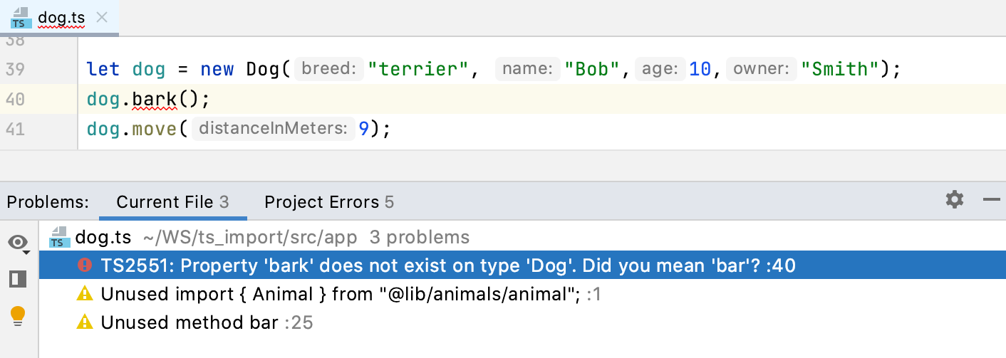 Problems tool window, TypeScript. Current File tab shows syntax errors from the file in the active editor tab