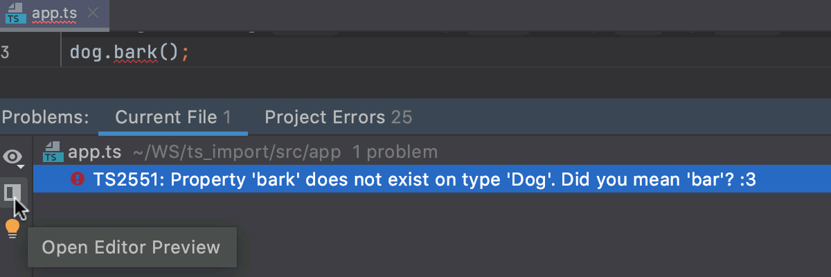 Monitor TypeScript syntax errors: fix problems in the editor preview pane