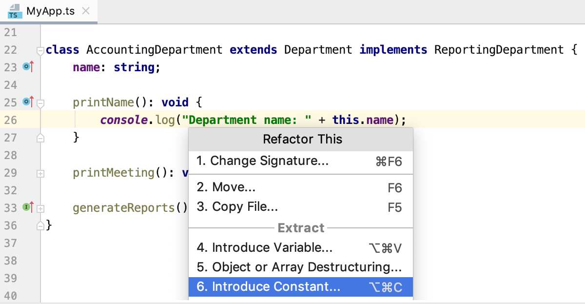 Invoke the Introduce Constant refactoring