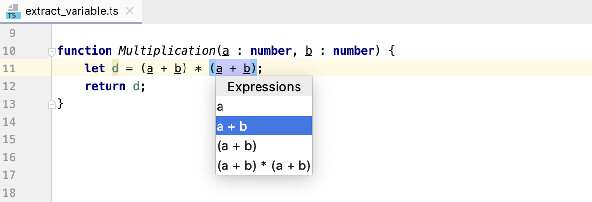 Introduce Variable: select expression