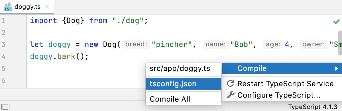TypeScript widget: compile custom scope from tsconfig.json