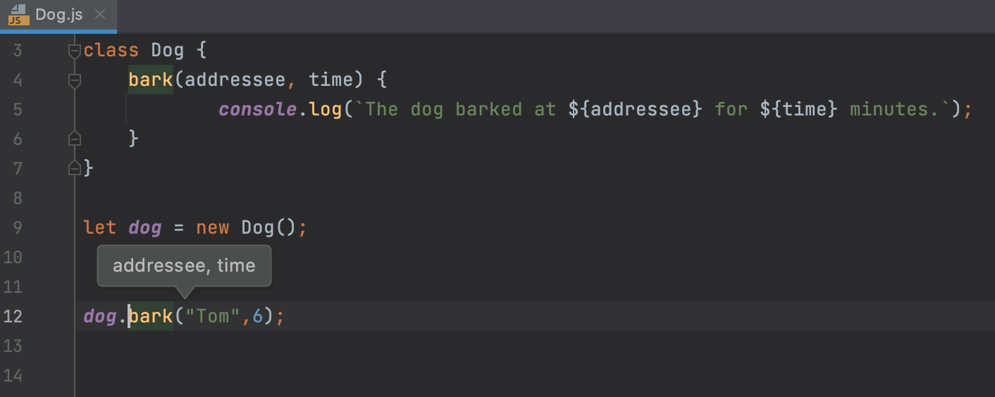 Parameter hints in a tooltip