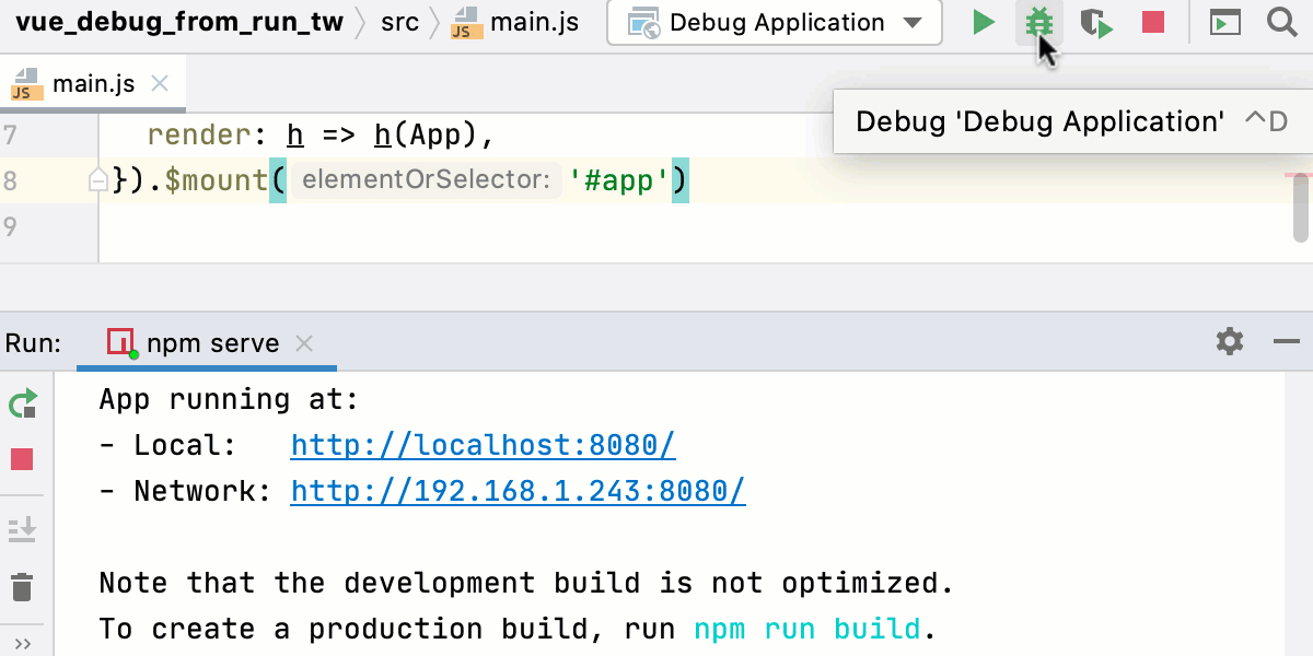 Start debugger for Vue.js app created with Vue CLI